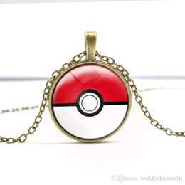 Wholesale Animal Cosplay - Games Pendant Necklaces Retro Punk Style Necklace Long Chains Time gem glass Statement Silver Necklace Pokeball GS Ball Pendant Go Cosplay