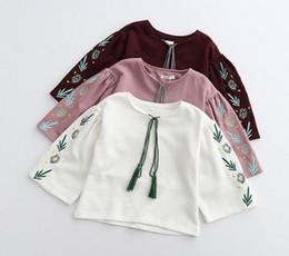 Wholesale Smocked Wholesale - 2017 Fashion Vintage Design Loosen Leaves Smocked Children Girls Shirts Tassel Spring Retro Embroidered Tops Wear B4452