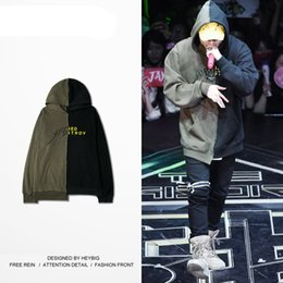 Argentina Los hombres de moda Hood se unió a Hot street design sudaderas ejército verde y negro sudaderas de costura ropa masculina tamaño CN cheap army sweatshirt hood Suministro