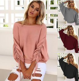 Wholesale Pink Ribbon Sweater - New Autumn Women's rib Sweater off shoulder batwing sleeve sexy slash Neck Women's Clothing