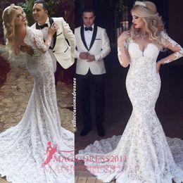 Chic blanc sirène robes de mariée 2016 arabe illusion corsage à manches longues fortement embellissement tribunal train pour noce robes de mariée ? partir de fabricateur