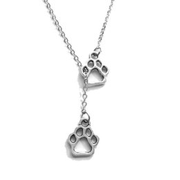 Wholesale Big Dog Chains - 2017 big bear's paw Electrocardiogram dog footprints chain necklace Cat's paw feet Gold plated Pendant Necklaces statement Jewelry wholesale