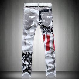 2019 bandera americana hombres capris Al por mayor-2016 Hombres Slim Jeans American USA Flag Impreso Jeans Print Graffiti Casual Denim Trousers Plus Size29-42 bandera americana hombres capris baratos