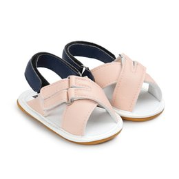 Wholesale Toddler Summer Sandals Boys - 5colors Baby soft pu cross straps sandals infants boys girls summer first walkers toddlers outdoor moccasins prewalkers for 0-1T