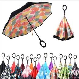 Wholesale design inside - 27 Designs Creative Inverted Umbrellas Double Layer With C Handle Inside Out Reverse Sunny Windproof Umbrella CCA6461 30pcs