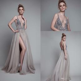 Wholesale Detailed Formal Dresses - 2016 Elegant V Neck Evening Gowns High Split Sequins Beaded Detail Plunging Neck Backless Occasion Prom Dress Formal Dresses Evening