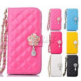 Wholesale Diamond Flower Leather Case Iphone - 2016 For samsung s7 Case Multi-Function Wallet PU Card Slot Case Protable Rose Flower Chain Diamond Pendant Iphone 6 Case Opp Package