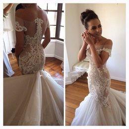 Wholesale Sexy Hochzeitskleid - New Fashionable Lace Mermaid Wedding Dress 2017 Sexy Off the Shoulder Sheer Appliques Beading Vestido De Noiva hochzeitskleid