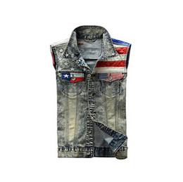 Wholesale Denim Vests For Men - Wholesale- 2016 New Arrival Men's Denim Vest Jeans Vest Men Cowboy Vest Denim Sleeveless American Flag Patchwork Jacket For Men
