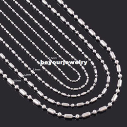 """Wholesale 4mm steel ball - 1.2mm 1.5mm 2mm 2.4mm 3.2mm 4mm Stainless Steel Shiny Long Short Ball Bamboo Bar Linked Beads Glass Locket Necklace Chain 18""""-22"""" inches"""