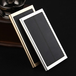 Wholesale Slim Portable Power Bank - 2016 Ultra Slim Luxury 20000mah External Solar Power Bank Dual USB Portable Battery Charger for all phone pad iPhone HTC Xiaomi