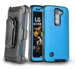 Wholesale Belt For Brushes - Metal Brushed Combo Holster Kickstand Case Belt Clip for LG Aristo K7 Stylus 2 Plus Zmax Pro Z981 Avid Trio Fierce 4 Tru