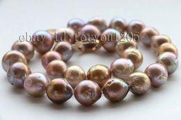 Wholesale Natural Keshi Pearls - Fine Pearl Jewelry Genuine Genuine Natural 12.5-15mm Baroque Purple Reborn Keshi Pearl Necklace 14k