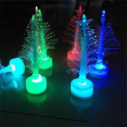 Wholesale House Bulb Lamp - 12cm Fiber Christmas Tree LED Flash Xmas Tree Christmas Decorations Nightlight Lamp Flashing Bar House Party Celebration Props Gifts