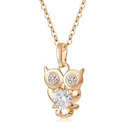 Wholesale Crystal Owl Pendant Necklace - Sweet Jewelry Gift 18K Yellow Gold Plated Clear Sparky CZ Crystal Owl Necklace for girls and Women Lovely Owl Heart Necklace