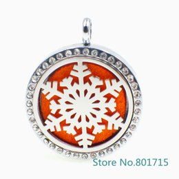 "Wholesale Magnet Lockets - XX036 ""Snowflake"" Magnet Aromatherapy Essential Oil Stainless Steel Perfume Diffuser Locket Necklace with chain&pads Jewelry"