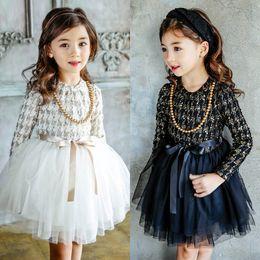 Wholesale High Grade Cotton - Girl Dress Autumn Spring Kids Long Sleeve Lace Dress Princess Dress High-grade Girl Clothing 2 Colors