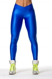 Wholesale Leggings Neon - Wholesale- 2017 V High Waist Candy Colors Neon Workout Fitness Fashion Leggings Women's Pants Fashion Elastic Strtched and Shiny 8 Color