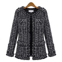 Wholesale Large Black Jacket - Autumn winter Hot women jacket Slim thin checkered Tweed coat Large size casual O-Neck Plaid Jacket with pocket loose outwear