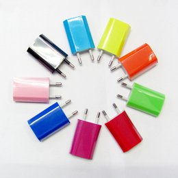 Wholesale Colorful Plug Phone - New colorful 10 colors EU USB Wall Home Charger AC Adapter EU Plug EU usb charger for iphone Cell phone 2016