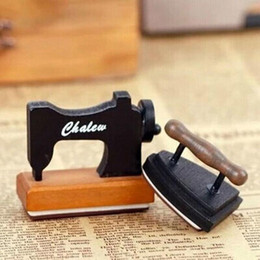 Wholesale Sewing Stamps - 1 x mini vintage sewing machine&iron wooden stamp diy Handmadedecal stamps for scrapbooking diy stamps Photo Album Craft gifts
