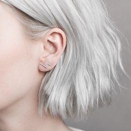 Wholesale Earrings Ear Bars - Fashion 925 Silver Punk Simple T Bar Earrings For Women Ear Stud Earrings Fine Jewelry Brincos Bijoux