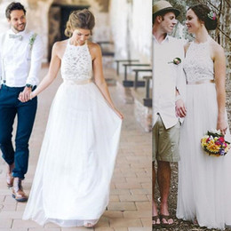 Wholesale Western Lace Dresses Cheap - 2017 Cheap Simple Wedding Dresses A-line Western Bridal Gowns Lace And Tulle Beach Dress For Brides Custom Made Free Shipping