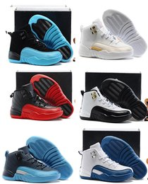 Wholesale Basketball Big Kids - Children's Air Retro 12 Basketball Shoes Kids Athletic Sports Shoes for Boy Girls Shoes Big Discount size:28-35