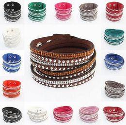 Wholesale Large Circle Wraps - Rhinestone Leather Wrapped Women Bracelets Bling Crystal Statement Multilayer Braided Wristband Bangles 9 Colors Large Stocks Adjusted Size
