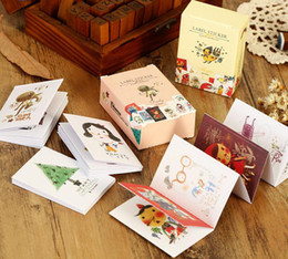 Wholesale Photo Label Paper - Wholesale- 48Pcs Pack New Matchbox Paper Decorative Stickers Label Stickers Animal Photos Happy Every Day Gift H0418