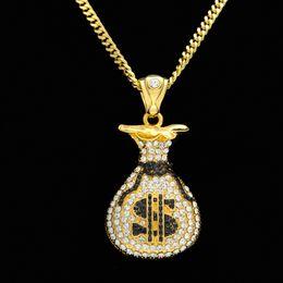 Wholesale pendant gold dollar - Hip Hop Antique Silver Plated Cash Money Bag Pendant For Men Women Bling Crystal Dollar Charm Necklace Long Cuban Chain Jewelry