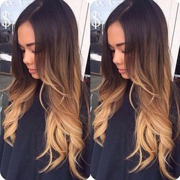Wholesale Ombre Wavy - Lace Front Human Hair Wigs Ombre T1b 4 27 Wavy 150 Density Loose Wave Malaysian Virgin Hair Bleached Knots With Baby Hair Glueless