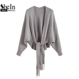 Wholesale Womens Grey Winter Coats - Wholesale-SheIn Grey Cardigan Women Long Batwing Sleeve Womens Fall Fashion Fringe Trim Winter Tops For Women Cardigan Coat
