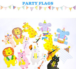 Wholesale Flag Parts - colorful cartoon animals flags for Children birthday part or decoration classroom and writing greetings on back