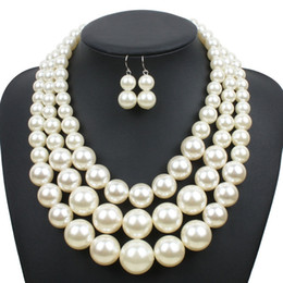 Wholesale East Indian Jewelry Necklace - Imitation Pearl Jewelry Set 2018 new Elegant Classic Exaggerated Multilayer Handmade Beads collar Choker statement Necklace Women wholesale