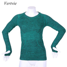 Wholesale Wholesale Running Jackets - Wholesale- Vertvie Autumn Winter Running Pullover Quick Dry Breathable Long Sleeved Sweatshirt Outdoor Women Fitness Yoga Sports Jackets