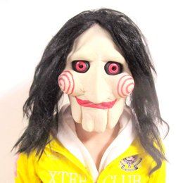 Wholesale horror saw face - Top Grade Horror Saw Movie Jigsaw Puppet Mask Halloween Full Face Scary Mask Head Latex Creepy Face Mask