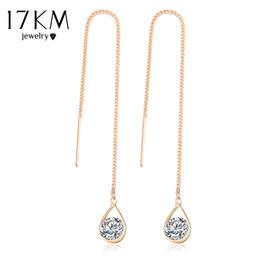Wholesale Bar Drop Earrings - 17KM Crystal Water Drop Earrings for Women Wedding Punk Star Moon Gold Color Long Tassel Dangle Bar Statement Jewelry