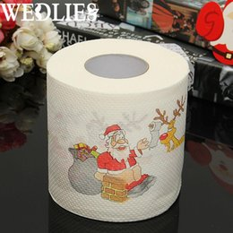 Wholesale Cartoon Toilet Paper - Wholesale- Santa Claus Merry Christmas Toilet Paper Tissue Roll Xmas Party Events Dining Table Decorative Accessories Craftwork Party Favor