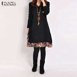 Wholesale Basic Dresses - Wholesale- Plus Size 2016 Autumn ZANZEA Women Casual Vintage Dress Ladies Leisure Loose Floral Hem O Neck Long Sleeve Cotton Basic Dresses