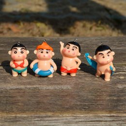 Wholesale Shin Chan Action Figure - 4pcs lot Cute Anime Crayon Shin-chan Bathe Style Mini Figure PVC Action Figures Toys Doll Collectible Model Toy Gifts for Kids
