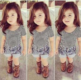 Wholesale Cool Clothing For Kids - Baby Girls Boutique Clothing Set Strip Tops Denim Shorts Pants For Summer Kid Black Bodysuit Next Children Clothes Cool Outfit Set Playsuit