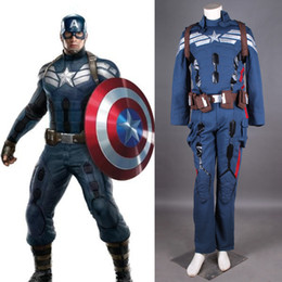 Wholesale Latex Movie Stars - Custom Made 2016 Long Sleeve Captain America Cosplay Costumes Steve Rogers Outfits Superheor Costumes For Halloween