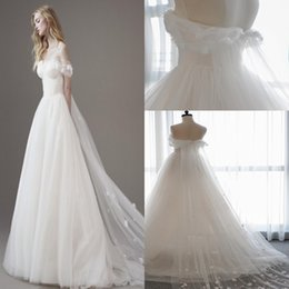 Wholesale Tulle Ivory Hair Flower - 2017 New Arabic A-Line Wedding Dresses Off-the-shoulder Hand Made Flowers Bridal Gown Zipper Sweep Train Wedding Gown Free Hair Accessories