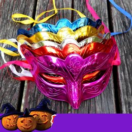 Wholesale Venice Free - 2017 Halloween Party Masks Masquerade Masked ball Venice Carnival Mardi Gras Costume Wedding decorations 5 Colors Electroplate Free Shipping