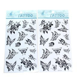 Wholesale Sexy Temporary Tattoo Sheet - Wholesale-2 Sheets Women Girls Temporary Tattoo Black Butterfly Pattern Sexy Fake Temporary Tatoo Decal Body Art Decoration Costume Party