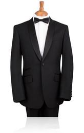 Wholesale Tie Color For Grey Suit - custom made Elegant Bridegrom Black stain shawl lapelWedding tuxedo for menBestmen 3 pieces suits set(jacket+pants+tie)
