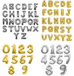 Wholesale aluminum foil balloon wedding - 16inch Silver Gold Color Alphabet Letters A-Z Number 0-9 Foil Balloon DIY Aluminum Balloons Birthday Party Wedding Decorations Balloons