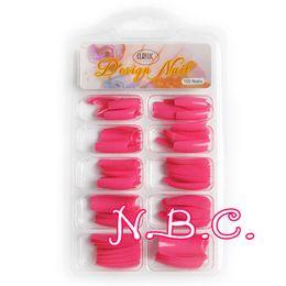 Wholesale Salon Manicure Tool Box - Wholesale- Spain Dispatch 100 pc box Deep South Korea Pink Nail Tips French Tips for Salon Acrylic Nail Art False Nail Tips Manicure Tools