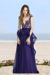 Wholesale Reem Acra Blue - Purple Reem Acra Resort Peplum Evening Dresses A Line Beaded Appliqued Sheer Plunging Neck Prom Dress Sweep Train Chiffon Evening Gown